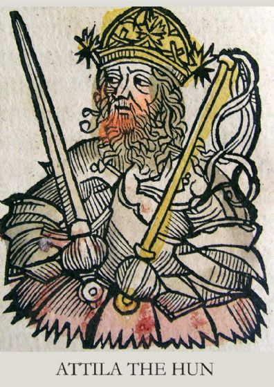 Attila The Hun in the Nuremberg Chronicle (1493). Art Print/Poster. (4917)